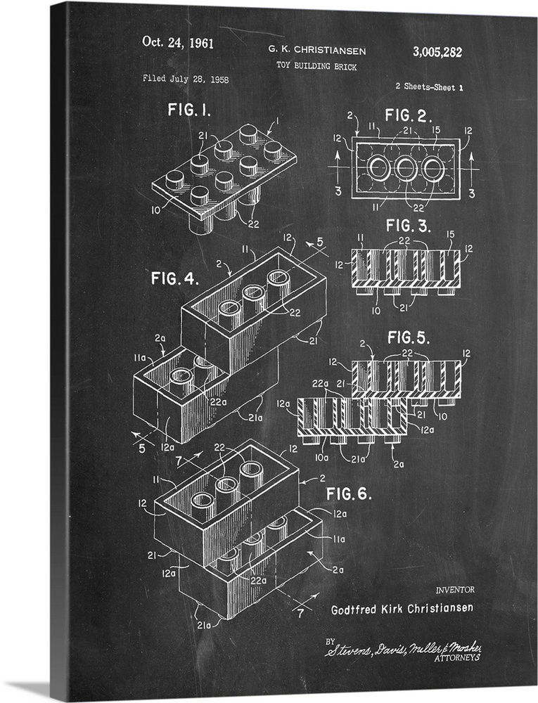 Large Solid-Faced Canvas Print Wall Art Print 30 x 40 entitled Toy Brick - Black Solid-Faced Canvas Print entitled Toy Brick - Black.  Diagram showing the measurements of a toy building block.  Multiple sizes available.  Primary colors within this image include Dark Gray, White.  Made in USA.  Satisfaction guaranteed.  Inks used are latex-based and designed to last.  Canvas is handcrafted and made-to-order in the United States using high quality artist-grade canvas.  Canvas depth is 1.25 and includes a finished backing with pre-installed hanging hardware.