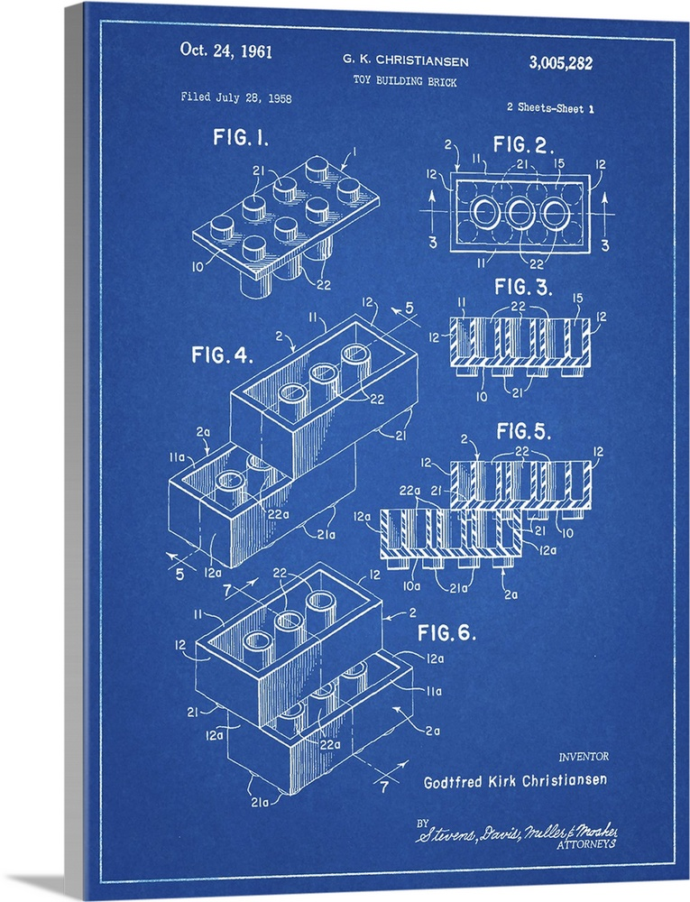 Large Solid-Faced Canvas Print Wall Art Print 30 x 40 entitled Toy Brick - Blue Solid-Faced Canvas Print entitled Toy Brick - Blue.  Diagram showing the measurements of a toy building block.  Multiple sizes available.  Primary colors within this image include Black, White, Muted Blue.  Made in USA.  Satisfaction guaranteed.  Inks used are latex-based and designed to last.  Archival inks prevent fading and preserve as much fine detail as possible with no over-saturation or color shifting.  Featuring a proprietary design, our canvases produce the tightest corners without any bubbles, ripples, or bumps and will not warp or sag over time.