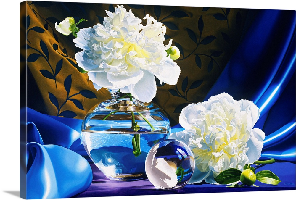 Large Solid-Faced Canvas Print Wall Art Print 30 x 20 entitled Twin Solid-Faced Canvas Print entitled Twin.  Contemporary vivid realistic still-life painting of a large white flower in a clear glass vase filled with water sitting on a silky blue cloth with another white flower and a glass orb.  Multiple sizes available.  Primary colors within this image include Dark Blue, Sky Blue, White.  Made in the USA.  Satisfaction guaranteed.  Inks used are latex-based and designed to last.  Archival inks prevent fading and preserve as much fine detail as possible with no over-saturation or color shifting.  Canvas depth is 1.25 and includes a finished backing with pre-installed hanging hardware.