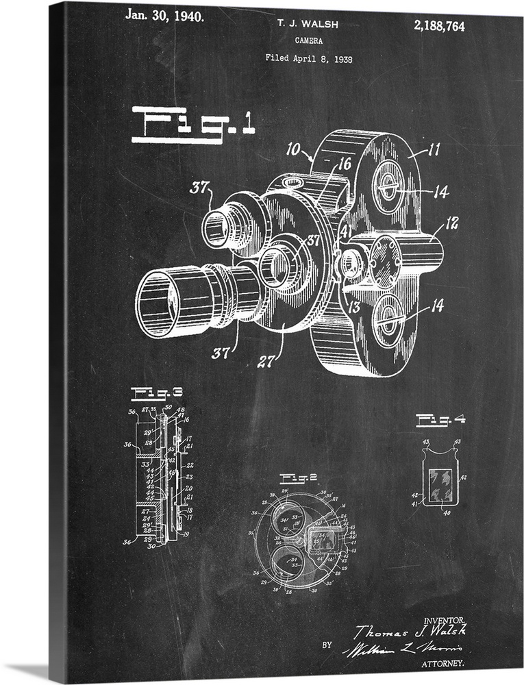 Large Solid-Faced Canvas Print Wall Art Print 30 x 40 entitled Walsh Camera Solid-Faced Canvas Print entitled Walsh Camera.  Black and white diagram showing the parts of Walshs new film camera.  Multiple sizes available.  Primary colors within this image include Dark Gray, White.  Made in USA.  All products come with a 365 day workmanship guarantee.  Archival-quality UV-resistant inks.  Archival inks prevent fading and preserve as much fine detail as possible with no over-saturation or color shifting.  Canvas depth is 1.25 and includes a finished backing with pre-installed hanging hardware.
