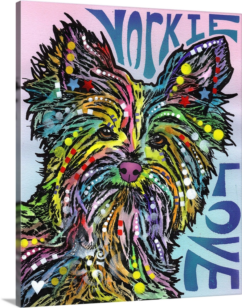 Solid-Faced Canvas Print Wall Art entitled Yorkie Luv