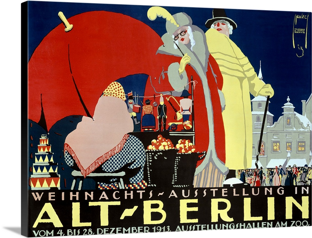 Large Gallery-Wrapped Canvas Wall Art Print 24 x 17 entitled Alt Berlin, Vintage Poster, by Ernst Deutsch Gallery-Wrapped Canvas entitled Alt Berlin, Vintage Poster, by Ernst Deutsch.  Landscape large vintage advertisement for Alt Berlin, of a man and woman dressed in elegant clothing, browsing upon a merchant on the street selling various items.  A large crowd surrounds a building in the background.  Multiple sizes available.  Primary colors within this image include Dark Red, Dark Blue, Peach, Black.  Made in USA.  Satisfaction guaranteed.  Inks used are latex-based and designed to last.  Canvas frames are built with farmed or reclaimed domestic pine or poplar wood.  Canvas is designed to prevent fading.
