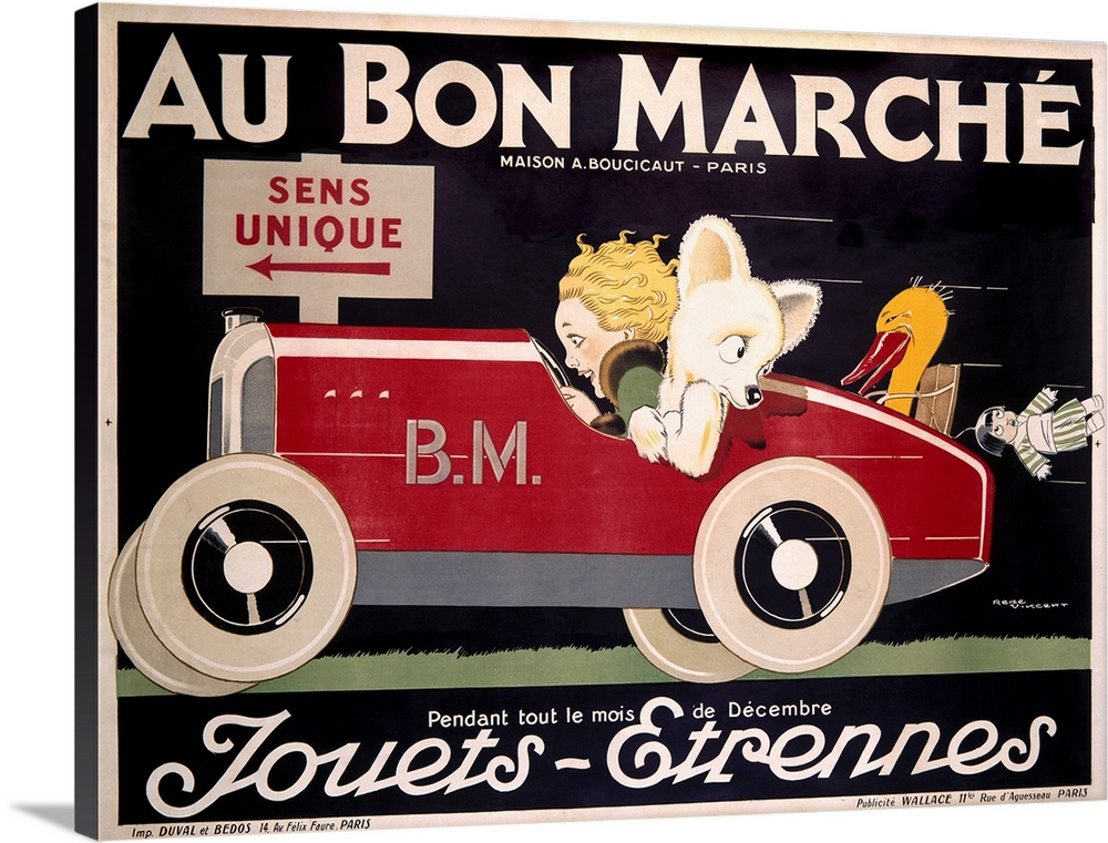 Large Solid-Faced Canvas Print Wall Art Print 40 x 30 entitled Au Bon Marche, Childrens Roadster, Vintage Poster Solid-Faced Canvas Print entitled Au Bon Marche, Childrens Roadster, Vintage Poster.  Classic advertisement for the Au Bon Marche featuring a woman driving a car with an animal in the passenger seat with toys about to fall out of the trunk of the car.  Multiple sizes available.  Primary colors within this image include Orange, Dark Red, Black, White.  Made in USA.  All products come with a 365 day workmanship guarantee.  Inks used are latex-based and designed to last.  Canvas is handcrafted and made-to-order in the United States using high quality artist-grade canvas.  Featuring a proprietary design, our canvases produce the tightest corners without any bubbles, ripples, or bumps and will not warp or sag over time.