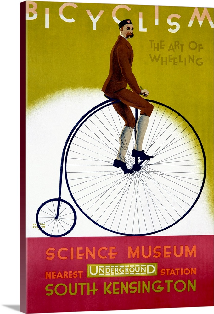 Large Solid-Faced Canvas Print Wall Art Print 20 x 30 entitled Bicyclism, The Art of Wheeling, Vintage Poster Solid-Faced Canvas Print entitled Bicyclism, The Art of Wheeling, Vintage Poster.  This wall art is a vintage advertising poster for an exhibit about bicycles with artwork depicting a man riding on a penny-farthing or ordinary bicycle.  Multiple sizes available.  Primary colors within this image include Dark Red, Dark Yellow, Dark Blue, White.  Made in USA.  All products come with a 365 day workmanship guarantee.  Archival-quality UV-resistant inks.  Featuring a proprietary design, our canvases produce the tightest corners without any bubbles, ripples, or bumps and will not warp or sag over time.  Archival inks prevent fading and preserve as much fine detail as possible with no over-saturation or color shifting.