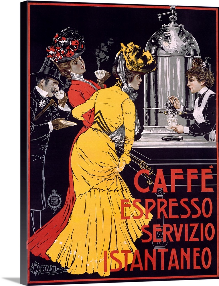 Large Gallery-Wrapped Canvas Wall Art Print 17 x 24 entitled Caffe Espresso, Servizio, Instantaneo, Vintage Poster Gallery-Wrapped Canvas entitled Caffe Espresso Servizio Instantaneo Vintage Poster.  Classic advertisement for Caffe Espresso Servizio Instantaneo featuring two elegant ladies and a well-dressed man drinking coffee as a female waitress pours more out of a large coffee machine.  Multiple sizes available.  Primary colors within this image include Pink Peach Black Silver.  Made in USA.  All products come with a 365 day workmanship guarantee.  Inks used are latex-based and designed to last.  Museum-quality artist-grade canvas mounted on sturdy wooden stretcher bars 1.5 thick.  Comes ready to hang.  Canvas is designed to prevent fading.