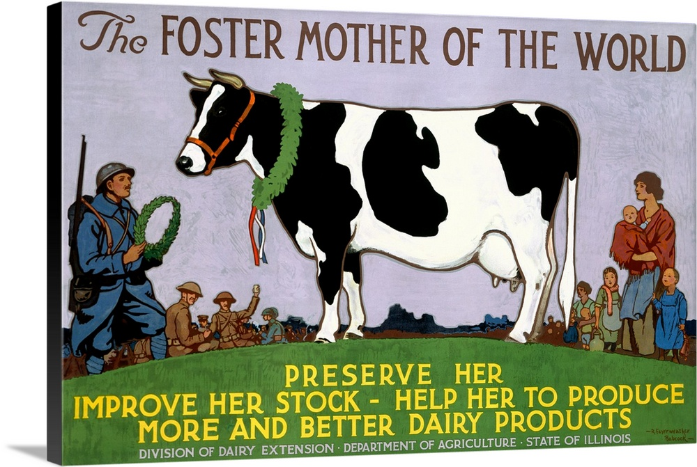 Large Gallery-Wrapped Canvas Wall Art Print 24 x 16 entitled Foster Mother of the World, Vintage Poster, by Richard Fayerw... Gallery-Wrapped Canvas entitled Foster Mother of the World Vintage Poster by Richard Fayerweather Babcock.  Vintage poster that highlights a cow with people standing around her and about to crown her. The poster calls for care of cows so they can produce better dairy products.  Multiple sizes available.  Primary colors within this image include Yellow Dark Red Dark Yellow Black.  Made in the USA.  All products come with a 365 day workmanship guarantee.  Archival-quality UV-resistant inks.  Canvas is designed to prevent fading.  Canvases have a UVB protection built in to protect against fading and moisture and are designed to last for over 100 years.