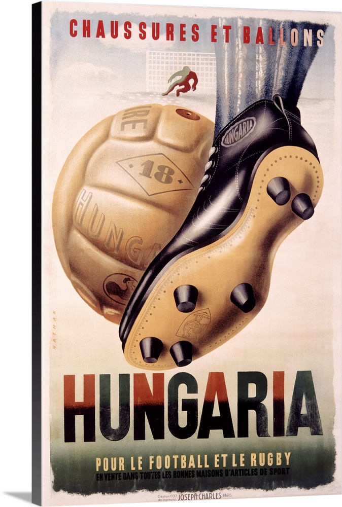 Large Gallery-Wrapped Canvas Wall Art Print 16 x 24 entitled Hungaria, Football and Rugby Shoes, Vintage Poster Gallery-Wrapped Canvas entitled Hungaria, Football and Rugby Shoes, Vintage Poster.  Large antique poster of a player kicking a ball towards a net.  Multiple sizes available.  Primary colors within this image include Dark Red, Black, Gray, White.  Made in the USA.  All products come with a 365 day workmanship guarantee.  Inks used are latex-based and designed to last.  Canvases have a UVB protection built in to protect against fading and moisture and are designed to last for over 100 years.  Canvas is a 65 polyester, 35 cotton base, with two acrylic latex primer basecoats and a semi-gloss inkjet receptive topcoat.