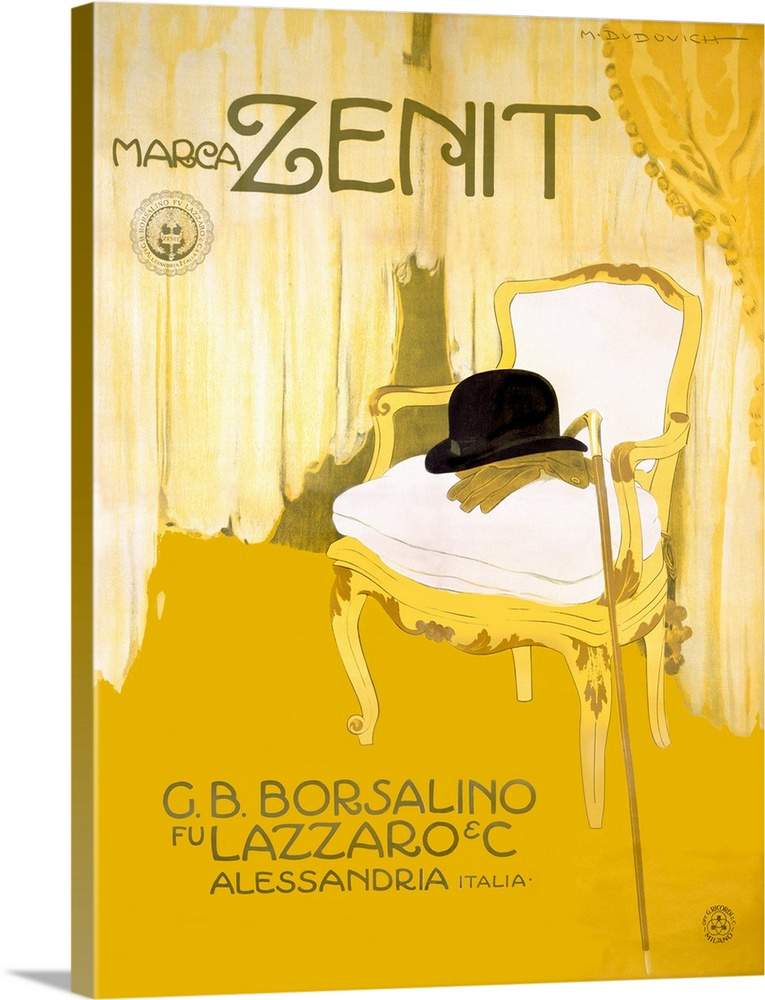 Large Gallery-Wrapped Canvas Wall Art Print 18 x 24 entitled Marca Zenit, Vintage Poster, by Marcello Dudovich Gallery-Wrapped Canvas entitled Marca Zenit, Vintage Poster, by Marcello Dudovich.  Antique poster of a painted chair with a hat, cane and gloves laying on top of it.  Multiple sizes available.  Primary colors within this image include Dark Yellow, Peach, Black.  Made in the USA.  All products come with a 365 day workmanship guarantee.  Archival-quality UV-resistant inks.  Museum-quality, artist-grade canvas mounted on sturdy wooden stretcher bars 1.5 thick.  Comes ready to hang.  Canvases are stretched across a 1.5 inch thick wooden frame with easy-to-mount hanging hardware.