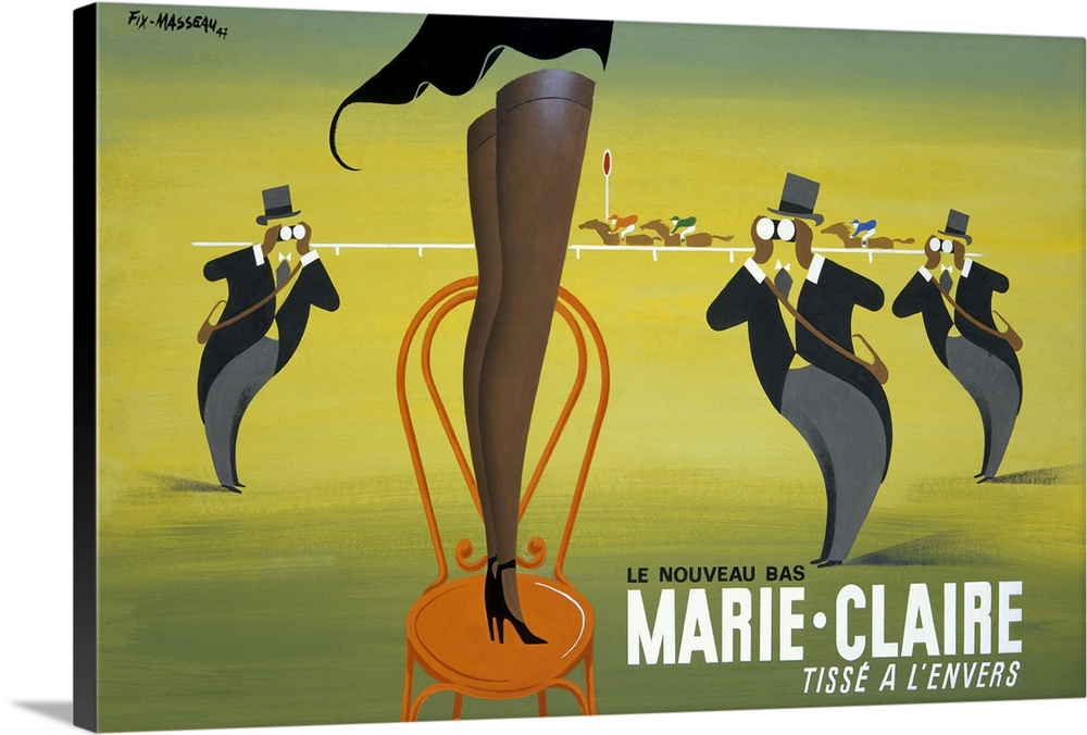 Large Gallery-Wrapped Canvas Wall Art Print 24 x 16 entitled Marie Claire, Tisse a lEnvers, Vintage Poster, by Pierre Fix ... Gallery-Wrapped Canvas entitled Marie Claire, Tisse a lEnvers, Vintage Poster, by Pierre Fix Masseau.  Antique advertising poster with lady standing on a chair with only her legs visible.  There are men in the background with binoculars looking her way and a derby race is taking place in the distance.  Multiple sizes available.  Primary colors within this image include Orange, Dark Yellow, Light Yellow, Black.  Made in the USA.  All products come with a 365 day workmanship guarantee.  Inks used are latex-based and designed to last.  Canvas is designed to prevent fading.  Canvases are stretched across a 1.5 inch thick wooden frame with easy-to-mount hanging hardware.