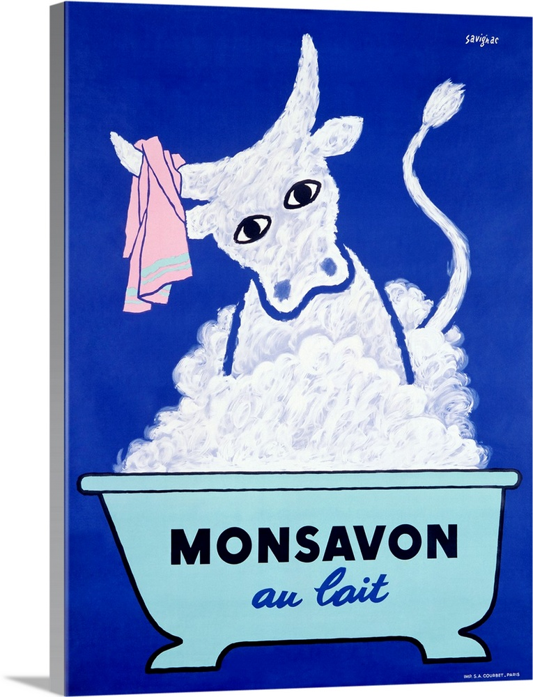 Large Gallery-Wrapped Canvas Wall Art Print 17 x 24 entitled Monsavon Au Lait, Vintage Poster, by Raymond Savignac Gallery-Wrapped Canvas entitled Monsavon Au Lait, Vintage Poster, by Raymond Savignac.  Old poster artwork showing a bull in a bubble bath with wash cloth hanging from its horns.  Multiple sizes available.  Primary colors within this image include Dark Blue, Black, Silver, Royal Blue.  Made in USA.  Satisfaction guaranteed.  Archival-quality UV-resistant inks.  Canvas is designed to prevent fading.  Canvases have a UVB protection built in to protect against fading and moisture and are designed to last for over 100 years.
