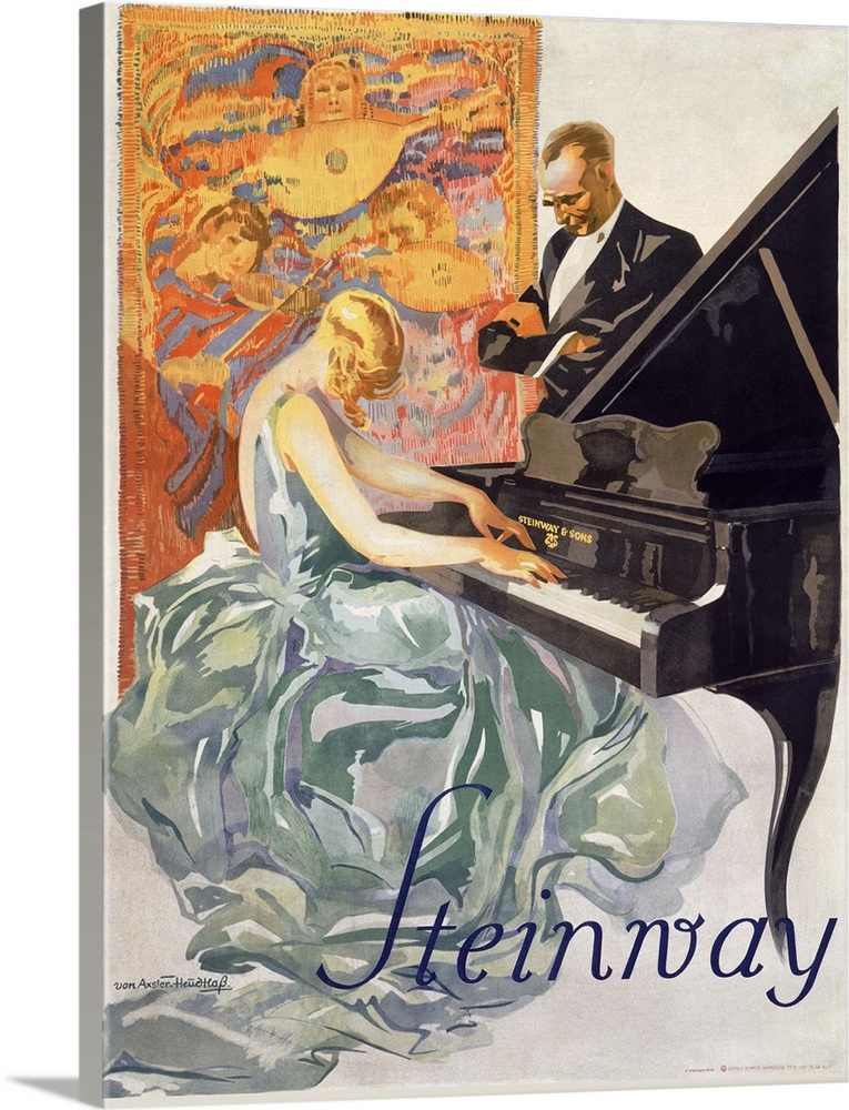 Solid-Faced Canvas drucken wand kunst entitled Steinway, jahrgang Poster, by Werner