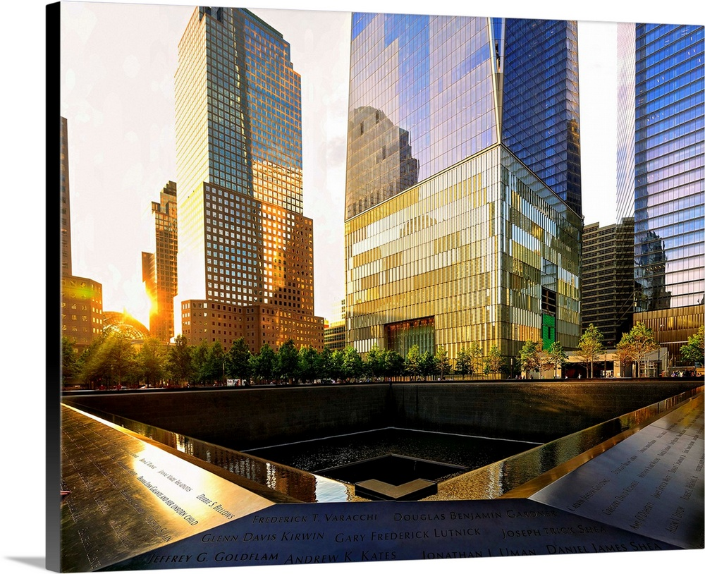 Large Solid-Faced Canvas Print Wall Art Print 45 x 36 entitled Freedom Tower And 911 Memorial Solid-Faced Canvas Print entitled Freedom Tower And 911 Memorial.  Multiple sizes available.  Primary colors within this image include Brown, Peach, Black, White.  Made in the USA.  Satisfaction guaranteed.  Inks used are latex-based and designed to last.  Featuring a proprietary design, our canvases produce the tightest corners without any bubbles, ripples, or bumps and will not warp or sag over time.  Archival inks prevent fading and preserve as much fine detail as possible with no over-saturation or color shifting.