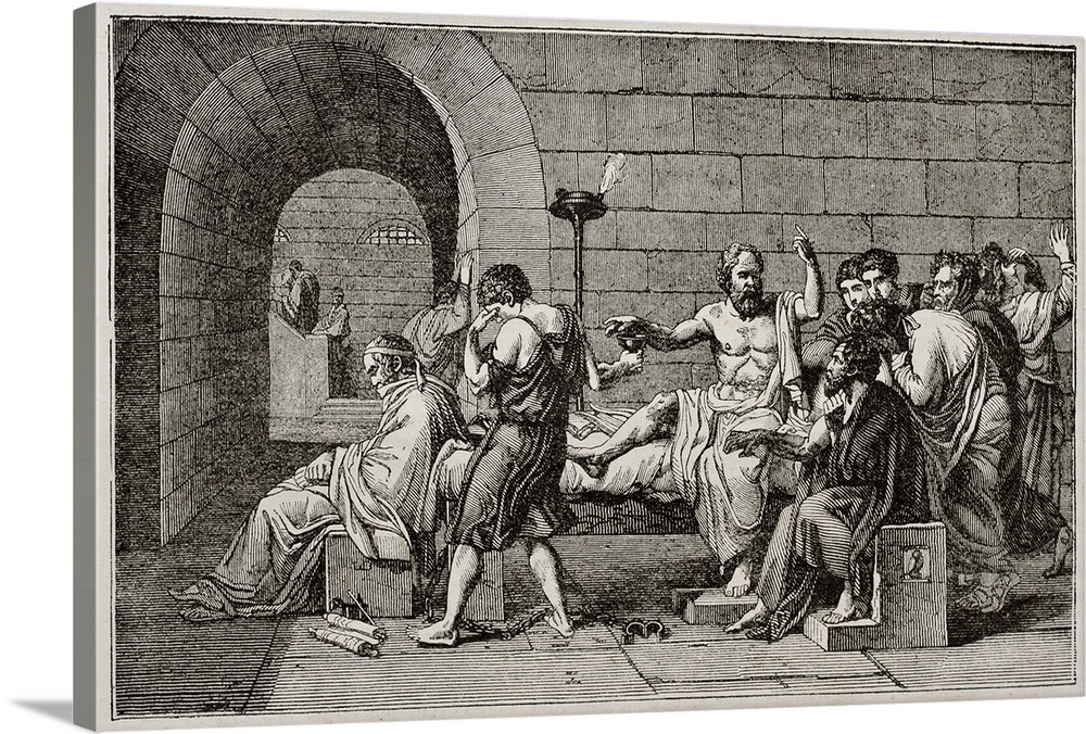 Large Gallery-Wrapped Canvas Wall Art Print 24 x 16 entitled Antique illustration of the death of Socrates Gallery-Wrapped Canvas entitled Antique illustration of the death of Socrates.  Socrates death old illustration after tablet of David published on Magasin Pittoresque Paris 184.  Multiple sizes available.  Primary colors within this image include Black Gray Silver.  Made in USA.  Satisfaction guaranteed.  Archival-quality UV-resistant inks.  Canvas is designed to prevent fading.  Canvases are stretched across a 1.5 inch thick wooden frame with easy-to-mount hanging hardware.