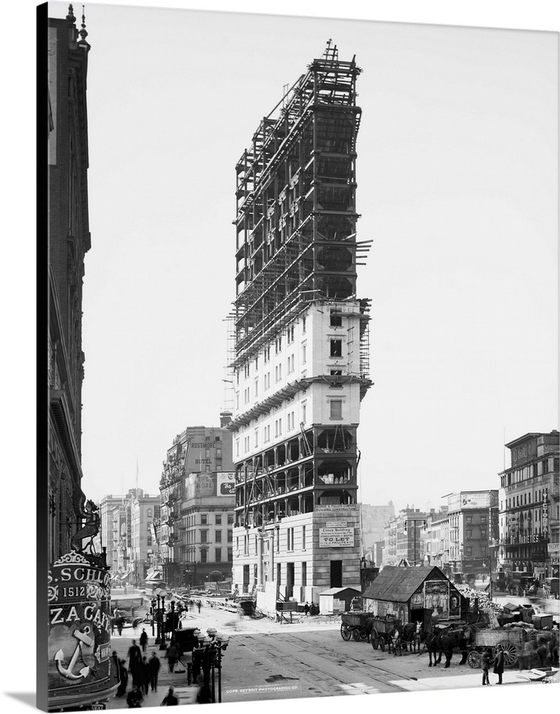 Large Solid-Faced Canvas Print Wall Art Print 24 x 30 entitled Vintage photograph of Times Building, Times Square, New Yor... Solid-Faced Canvas Print entitled Vintage photograph of Times Building, Times Square, New York City.  Multiple sizes available.  Primary colors within this image include Dark Gray, White.  Made in USA.  Satisfaction guaranteed.  Inks used are latex-based and designed to last.  Archival inks prevent fading and preserve as much fine detail as possible with no over-saturation or color shifting.  Canvas depth is 1.25 and includes a finished backing with pre-installed hanging hardware.