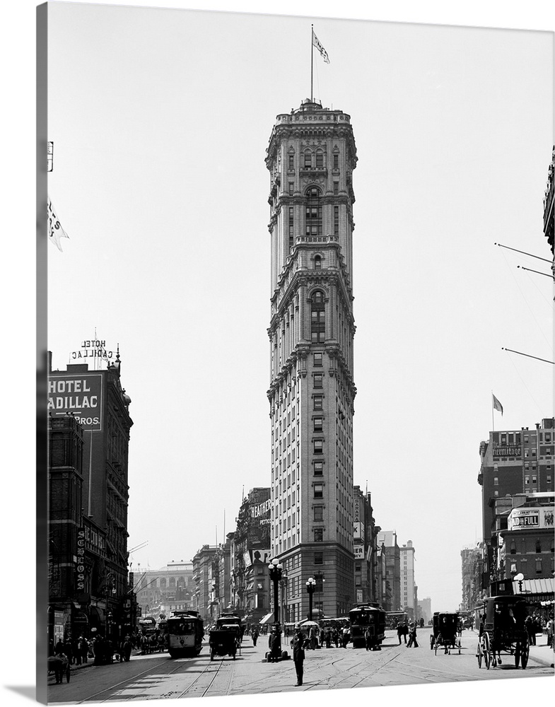 Large Solid-Faced Canvas Print Wall Art Print 24 x 30 entitled Vintage photograph of Times Building, Times Square, New Yor... Solid-Faced Canvas Print entitled Vintage photograph of Times Building, Times Square, New York City.  Multiple sizes available.  Primary colors within this image include Black, Gray, White.  Made in the USA.  All products come with a 365 day workmanship guarantee.  Inks used are latex-based and designed to last.  Featuring a proprietary design, our canvases produce the tightest corners without any bubbles, ripples, or bumps and will not warp or sag over time.  Canvas is handcrafted and made-to-order in the United States using high quality artist-grade canvas.