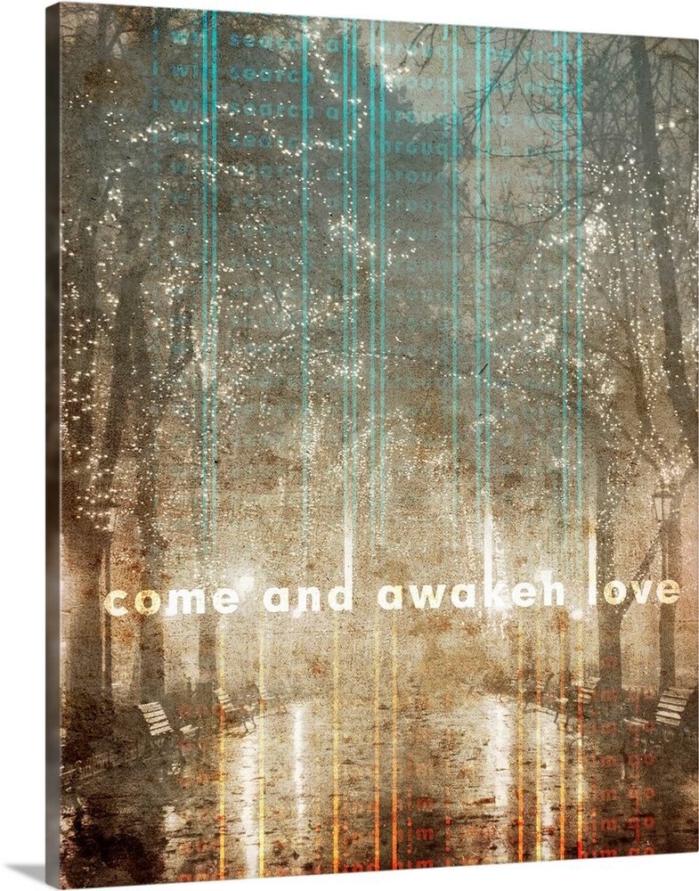 Large Solid-Faced Canvas Print Wall Art Print 24 x 30 entitled Come and Awaken Love Solid-Faced Canvas Print entitled Come and Awaken Love.  Vintage Central Park with romantic lights in trees based on Song of Solomon 84.  Multiple sizes available.  Primary colors within this image include Orange, Dark Gray, Gray, White.  Made in the USA.  All products come with a 365 day workmanship guarantee.  Inks used are latex-based and designed to last.  Archival inks prevent fading and preserve as much fine detail as possible with no over-saturation or color shifting.  Canvas is handcrafted and made-to-order in the United States using high quality artist-grade canvas.