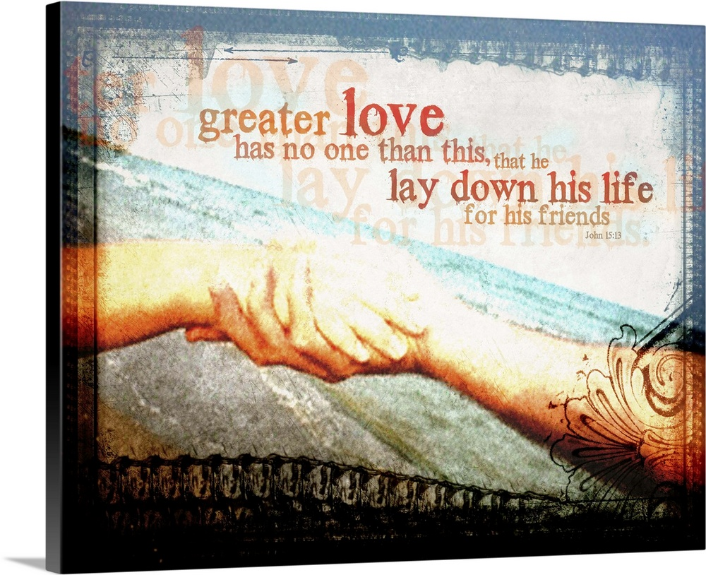 Large Solid-Faced Canvas Print Wall Art Print 30 x 24 entitled No Greater Love Solid-Faced Canvas Print entitled No Greater Love.  Helping hand against beach background with rustic frame and John 1513.  Multiple sizes available.  Primary colors within this image include Dark Red, Peach, Black, White.  Made in the USA.  All products come with a 365 day workmanship guarantee.  Archival-quality UV-resistant inks.  Canvas is handcrafted and made-to-order in the United States using high quality artist-grade canvas.  Canvas depth is 1.25 and includes a finished backing with pre-installed hanging hardware.