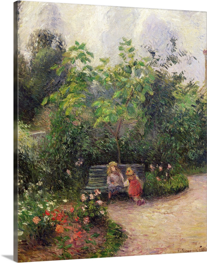 Large Solid-Faced Canvas Print Wall Art Print 24 x 30 entitled A Corner of the Garden at the Hermitage, Pontoise, 1877 Solid-Faced Canvas Print entitled A Corner of the Garden at the Hermitage, Pontoise, 1877.  XIR34141 A Corner of the Garden at the Hermitage, Pontoise, 1877 oil on canvas  by Pissarro, Camille 1831-1903 55x46 cm Musee dOrsay, Paris, France add. info. Un Coin de Jardin a lHermitage Giraudon French, out of copyright.  Multiple sizes available.  Primary colors within this image include Pink, Black, Light Gray, White.  Made in the USA.  All products come with a 365 day workmanship guarantee.  Inks used are latex-based and designed to last.  Canvas depth is 1.25 and includes a finished backing with pre-installed hanging hardware.  Featuring a proprietary design, our canvases produce the tightest corners without any bubbles, ripples, or bumps and will not warp or sag over time.