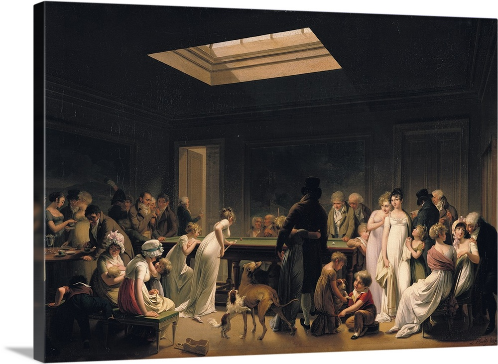 Large Gallery-Wrapped Canvas Wall Art Print 24 x 17 entitled A Game of Billiards, 1807 Gallery-Wrapped Canvas entitled A Game of Billiards, 1807.  XIR48921 A Game of Billiards, 1807 oil on canvas  by Boilly, Louis Leopold 1761-1845 56x81 cm Hermitage, St. Petersburg, Russia add. info. in this period billiard halls became popular places to meet and socialise Giraudon French, out of copyright.  Multiple sizes available.  Primary colors within this image include Brown, Peach, Dark Gray.  Made in USA.  All products come with a 365 day workmanship guarantee.  Archival-quality UV-resistant inks.  Museum-quality, artist-grade canvas mounted on sturdy wooden stretcher bars 1.5 thick.  Comes ready to hang.  Canvases are stretched across a 1.5 inch thick wooden frame with easy-to-mount hanging hardware.