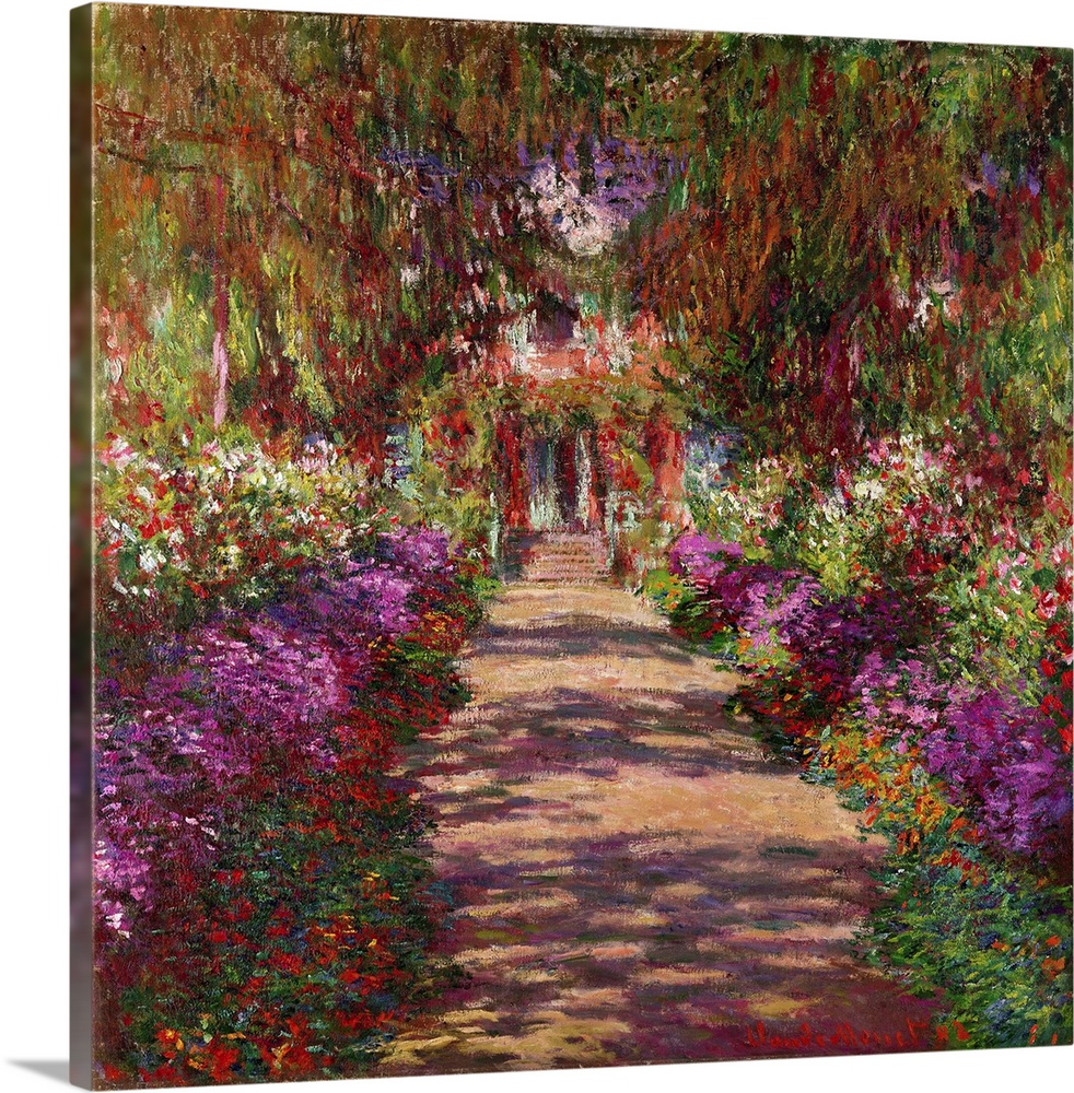 Large Solid-Faced Canvas Print Wall Art Print 20 x 20 entitled A Pathway in Monets Garden, Giverny, 1902 Solid-Faced Canvas Print entitled A Pathway in Monets Garden, Giverny, 1902.  This is an Impressionist painting showing the bright light and mid-day shade of this flower filled scene for home or office docor.  Multiple sizes available.  Primary colors within this image include Brown, Pink, Black, Gray.  Made in USA.  Satisfaction guaranteed.  Archival-quality UV-resistant inks.  Archival inks prevent fading and preserve as much fine detail as possible with no over-saturation or color shifting.  Canvas is handcrafted and made-to-order in the United States using high quality artist-grade canvas.