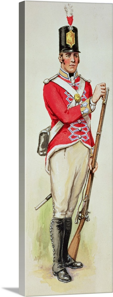 Large Solid-Faced Canvas Print Wall Art Print 16 x 48 entitled British soldier in Napoleonic times carrying a musket Solid-Faced Canvas Print entitled British soldier in Napoleonic times carrying a musket.  XTD75532 British soldier in Napoleonic times carrying a musket wc  by English School, 19th century watercolour Private Collection English, out of copyright.  Multiple sizes available.  Primary colors within this image include Dark Red, Pink, Dark Gray, Silver.  Made in USA.  Satisfaction guaranteed.  Inks used are latex-based and designed to last.  Canvas is handcrafted and made-to-order in the United States using high quality artist-grade canvas.  Archival inks prevent fading and preserve as much fine detail as possible with no over-saturation or color shifting.