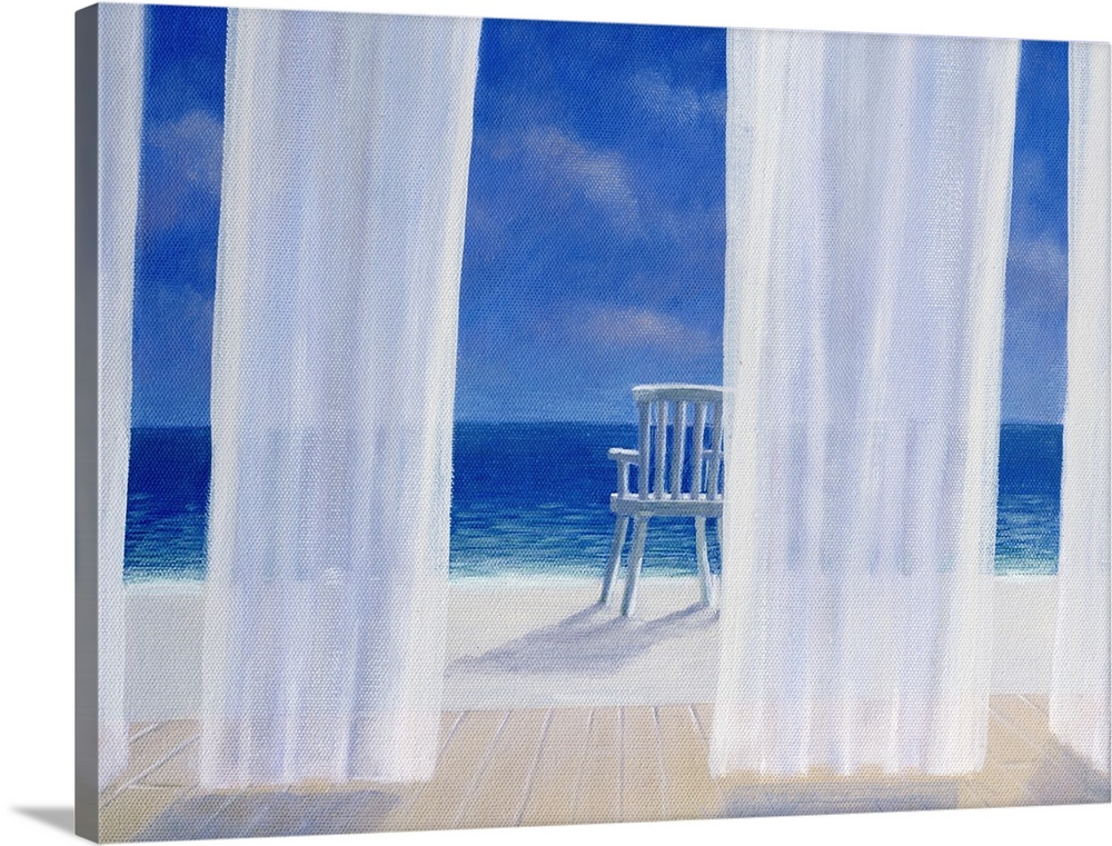 Large Gallery-Wrapped Canvas Wall Art Print 24 x 18 entitled Cabana, 2005 Gallery-Wrapped Canvas entitled Cabana, 2005.  Fantastic wall art for a beach house this contemporary landscape painting looks out to sea through curtains blowing in the breeze at a chair sitting on a beach.  Multiple sizes available.  Primary colors within this image include Dark Blue, Black, Pale Blue, Royal Blue.  Made in USA.  All products come with a 365 day workmanship guarantee.  Archival-quality UV-resistant inks.  Canvas is designed to prevent fading.  Canvas is acid-free and 20 millimeters thick.