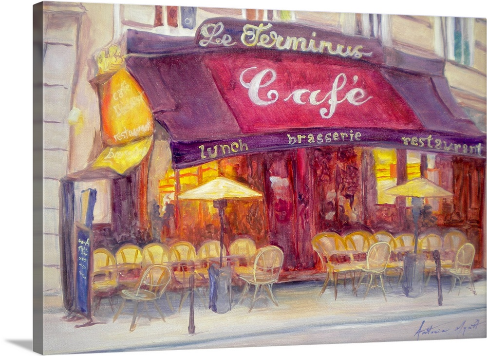 Large Gallery-Wrapped Canvas Wall Art Print 24 x 17 entitled Cafe le Terminus, 2010 Gallery-Wrapped Canvas entitled Cafe le Terminus, 2010.  Horizontal, large painting of a cafo along a city street, with many chairs and umbrellas sitting along the sidewalk.  A painted awning above advertises the name.  Multiple sizes available.  Primary colors within this image include Orange, Peach, Gray, Silver.  Made in the USA.  Satisfaction guaranteed.  Inks used are latex-based and designed to last.  Canvases are stretched across a 1.5 inch thick wooden frame with easy-to-mount hanging hardware.  Museum-quality, artist-grade canvas mounted on sturdy wooden stretcher bars 1.5 thick.  Comes ready to hang.