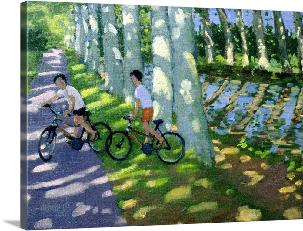 Large Solid-Faced Canvas Print Wall Art Print 40 x 30 entitled Canal du Midi, France Solid-Faced Canvas Print entitled Canal du Midi, France.  A contemporary painted landscape where trees line a canal and cast shadows on the ground from the midday sun on a path where two children on bicycles rest in the shade.  Multiple sizes available.  Primary colors within this image include Peach, Black, White, Muted Blue.  Made in the USA.  All products come with a 365 day workmanship guarantee.  Archival-quality UV-resistant inks.  Canvas is handcrafted and made-to-order in the United States using high quality artist-grade canvas.  Archival inks prevent fading and preserve as much fine detail as possible with no over-saturation or color shifting.