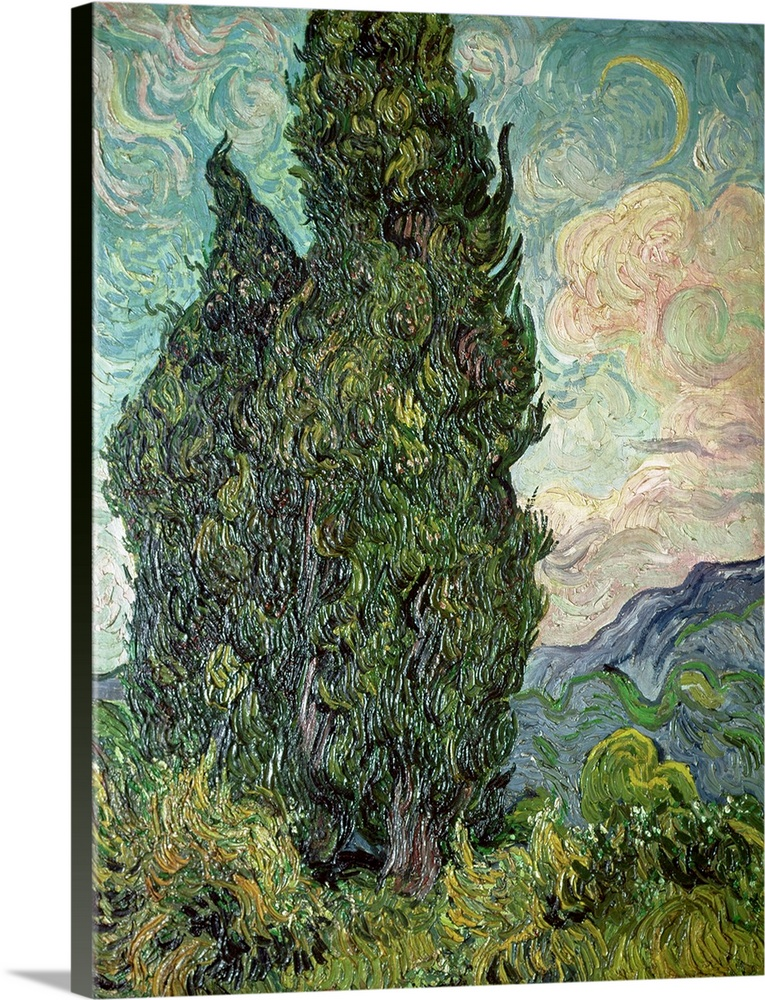 Solid-Faced Canvas Print Wall Art entitled Cypresses, 1889