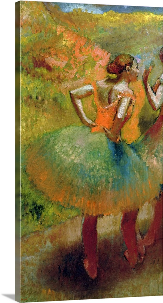 Large Gallery-Wrapped Canvas Wall Art Print 12 x 21 entitled Dancers Wearing Green Skirts, c.1895 Gallery-Wrapped Canvas entitled Dancers Wearing Green Skirts c.1895.  This piece of classic artwork has two dancers both wearing full ballerina skirts with one of the dancers hands in the others face.  Multiple sizes available.  Primary colors within this image include Brown Black Light Gray.  Made in USA.  All products come with a 365 day workmanship guarantee.  Inks used are latex-based and designed to last.  Museum-quality artist-grade canvas mounted on sturdy wooden stretcher bars 1.5 thick.  Comes ready to hang.  Canvas frames are built with farmed or reclaimed domestic pine or poplar wood.