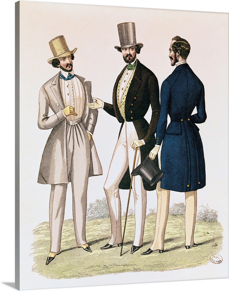 Large Solid-Faced Canvas Print Wall Art Print 24 x 30 entitled Fashion plate depicting male clothing, published by 'La Fas... Solid-Faced Canvas Print entitled Fashion plate depicting male clothing, published by La Fashion, 1841.  Multiple sizes available.  Primary colors within this image include Black, Gray, White.  Made in the USA.  Satisfaction guaranteed.  Inks used are latex-based and designed to last.  Featuring a proprietary design, our canvases produce the tightest corners without any bubbles, ripples, or bumps and will not warp or sag over time.  Canvas is handcrafted and made-to-order in the United States using high quality artist-grade canvas.