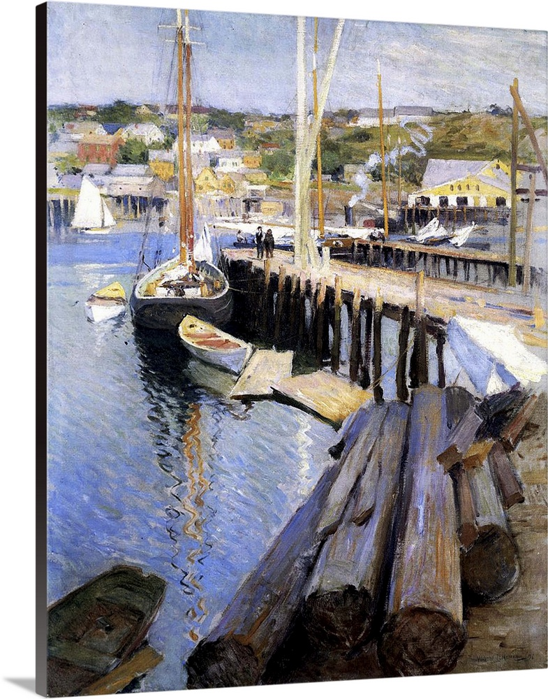 Solid-Faced Canvas Print Wall Art entitled Fish Wharves, Gloucester, 1896 (oil