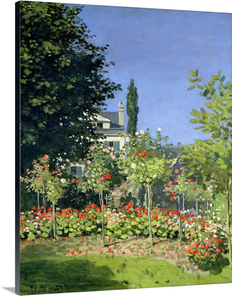 Large Solid-Faced Canvas Print Wall Art Print 24 x 30 entitled Flowering Garden at Sainte Adresse, c.1866 Solid-Faced Canvas Print entitled Flowering Garden at Sainte Adresse, c.1866.  Artwork perfect for the home of a small garden with a large tree to the left and a small view of a house behind it.  Multiple sizes available.  Primary colors within this image include Brown, Sky Blue, Black, White.  Made in the USA.  All products come with a 365 day workmanship guarantee.  Archival-quality UV-resistant inks.  Canvas depth is 1.25 and includes a finished backing with pre-installed hanging hardware.  Canvas is handcrafted and made-to-order in the United States using high quality artist-grade canvas.