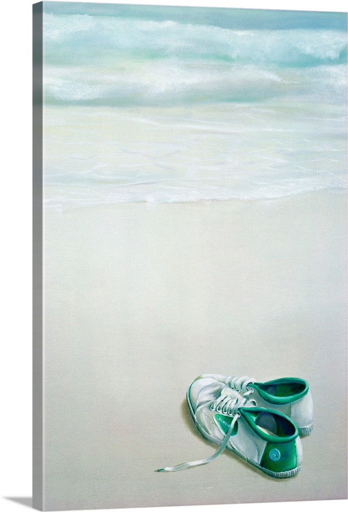 Large Solid-Faced Canvas Print Wall Art Print 20 x 30 entitled Gym Shoes on Beach Solid-Faced Canvas Print entitled Gym Shoes on Beach.  Multiple sizes available.  Primary colors within this image include Black, White, Dark Forest Green.  Made in USA.  Satisfaction guaranteed.  Archival-quality UV-resistant inks.  Canvas is handcrafted and made-to-order in the United States using high quality artist-grade canvas.  Canvas depth is 1.25 and includes a finished backing with pre-installed hanging hardware.