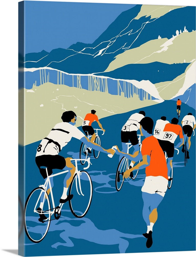 Large Solid-Faced Canvas Print Wall Art Print 30 x 40 entitled Helping Hand, 2013 Solid-Faced Canvas Print entitled Helping Hand, 2013.  Contemporary illustration of cyclists being given drink while en route during competition.  Multiple sizes available.  Primary colors within this image include Orange, Black, Silver, Muted Blue.  Made in the USA.  All products come with a 365 day workmanship guarantee.  Archival-quality UV-resistant inks.  Canvas is handcrafted and made-to-order in the United States using high quality artist-grade canvas.  Archival inks prevent fading and preserve as much fine detail as possible with no over-saturation or color shifting.