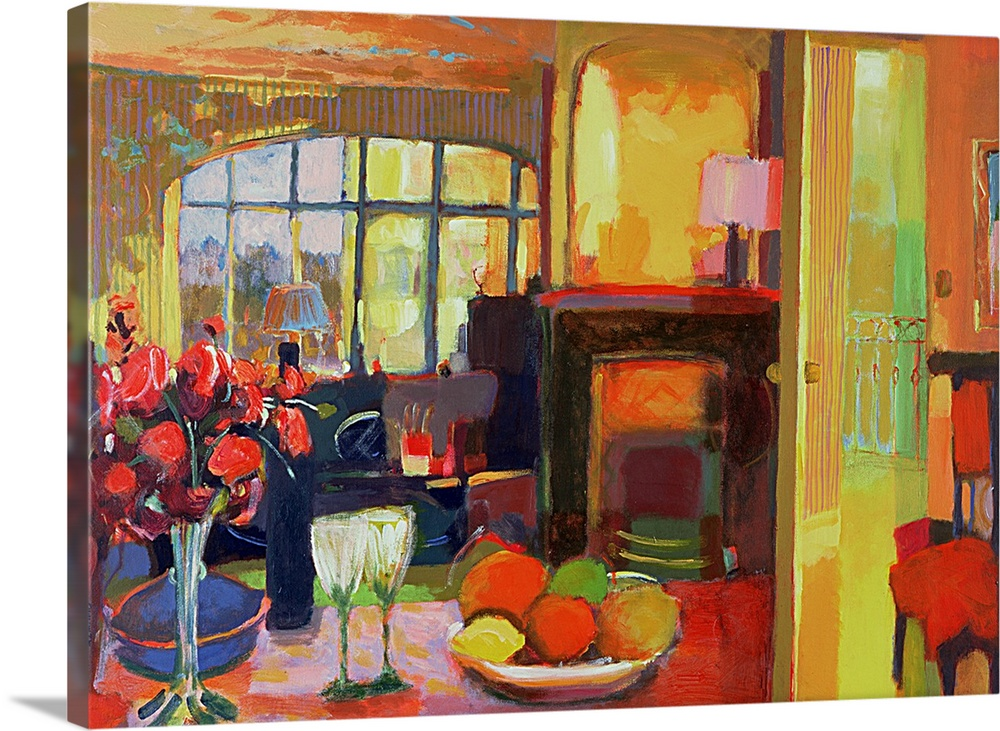 Large Gallery-Wrapped Canvas Wall Art Print 24 x 17 entitled In Paris, 2000 Gallery-Wrapped Canvas entitled In Paris, 2000.  Still oil painting of room with table that has a bowl of fruit, a vase of flowers, a bottle of wine, and two glasses.  There is also a chair, lamp and wide window in the room. .  Multiple sizes available.  Primary colors within this image include Red, Dark Yellow, Pink, Dark Navy Blue.  Made in USA.  All products come with a 365 day workmanship guarantee.  Inks used are latex-based and designed to last.  Canvas is acid-free and 20 millimeters thick.  Canvases have a UVB protection built in to protect against fading and moisture and are designed to last for over 100 years.