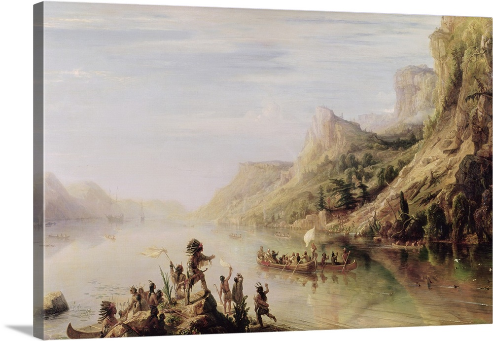 Large Solid-Faced Canvas Print Wall Art Print 30 x 20 entitled Jacques Cartier (1491-1557) Discovering the St. Lawrence Ri... Solid-Faced Canvas Print entitled Jacques Cartier 1491-1557 Discovering the St. Lawrence River in 1535, 1847.  Cartier decouvre le fleuve Saint-Laurent.  Multiple sizes available.  Primary colors within this image include Black, Silver, Dark Forest Green.  Made in the USA.  All products come with a 365 day workmanship guarantee.  Inks used are latex-based and designed to last.  Canvas depth is 1.25 and includes a finished backing with pre-installed hanging hardware.  Canvas is handcrafted and made-to-order in the United States using high quality artist-grade canvas.