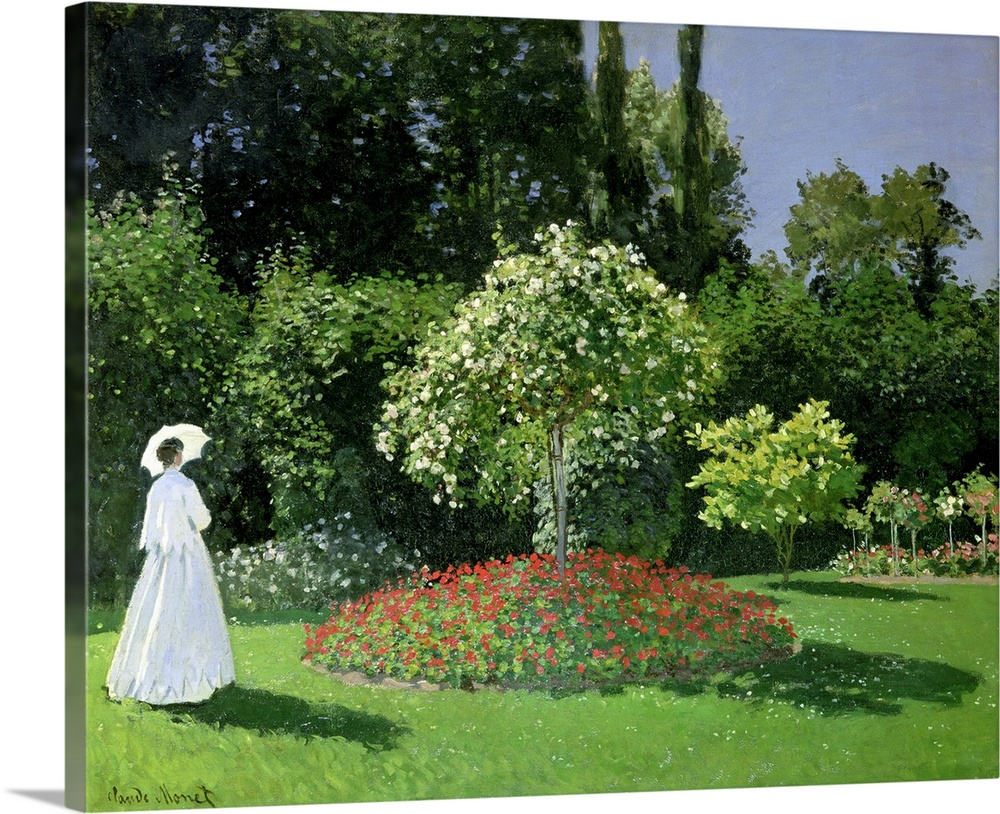 Large Solid-Faced Canvas Print Wall Art Print 30 x 24 entitled Jeanne Marie Lecadre in the Garden, 1866 Solid-Faced Canvas Print entitled Jeanne Marie Lecadre in the Garden, 1866.  Jeanne Marie Lecadre in the Garden, 1866 oil on canvas  by Monet, Claude 1840-1926 Hermitage, St. Petersburg, Russia Jeanne Marie Lecadre au jardin Impressionism French, out of copyright.  Multiple sizes available.  Primary colors within this image include Forest Green, White, Dark Forest Green, Light Gray Blue.  Made in USA.  Satisfaction guaranteed.  Inks used are latex-based and designed to last.  Archival inks prevent fading and preserve as much fine detail as possible with no over-saturation or color shifting.  Canvas depth is 1.25 and includes a finished backing with pre-installed hanging hardware.