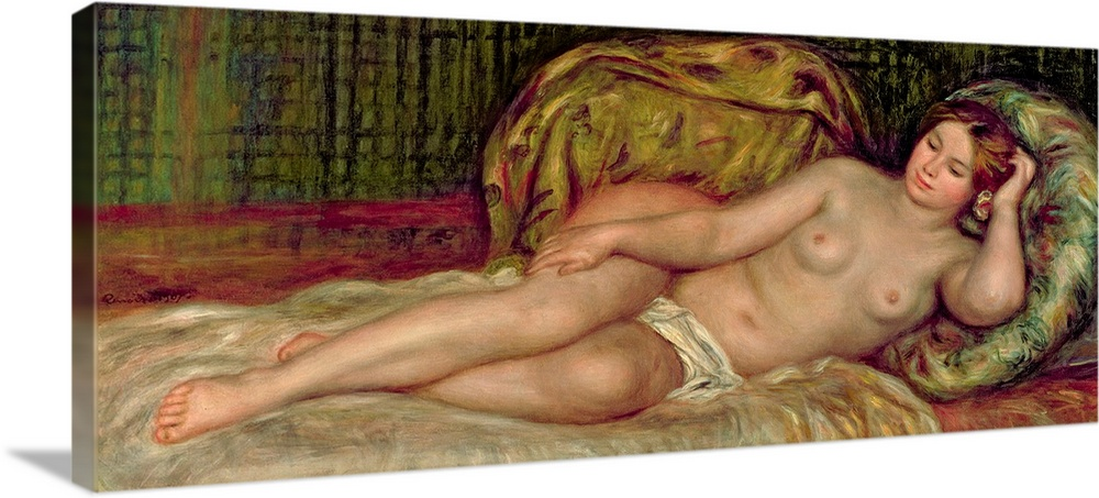 Large Gallery-Wrapped Canvas Wall Art Print 36 x 16 entitled Large Nude, 1907 Gallery-Wrapped Canvas entitled Large Nude, 1907.  Large, horizontal classic painting of a nude woman lying on a bed, surrounded by pillows.  Multiple sizes available.  Primary colors within this image include Plum, Black, Light Gray.  Made in USA.  All products come with a 365 day workmanship guarantee.  Inks used are latex-based and designed to last.  Canvases are stretched across a 1.5 inch thick wooden frame with easy-to-mount hanging hardware.  Museum-quality, artist-grade canvas mounted on sturdy wooden stretcher bars 1.5 thick.  Comes ready to hang.