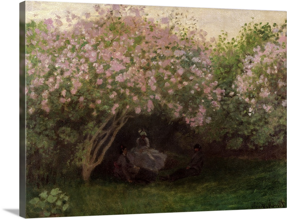 Large Solid-Faced Canvas Print Wall Art Print 40 x 30 entitled Lilacs, Grey Weather, 1872 Solid-Faced Canvas Print entitled Lilacs, Grey Weather, 1872.  Landscape, large classic wall painting of several small figures sitting on the grass, beneath the shadows of large lilac bushes.  Multiple sizes available.  Primary colors within this image include Dark Gray, Light Gray, White.  Made in the USA.  All products come with a 365 day workmanship guarantee.  Inks used are latex-based and designed to last.  Canvas is handcrafted and made-to-order in the United States using high quality artist-grade canvas.  Featuring a proprietary design, our canvases produce the tightest corners without any bubbles, ripples, or bumps and will not warp or sag over time.