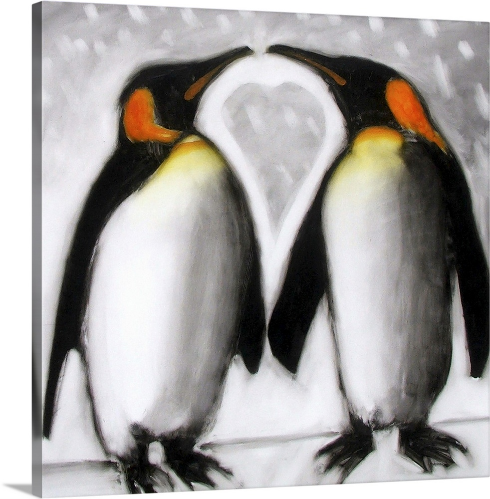 Large Solid-Faced Canvas Print Wall Art Print 20 x 20 entitled Love Solid-Faced Canvas Print entitled Love.  Contemporary artwork of two penguins standing next to each other almost beak to beak with a heart shape formed in between them.  Multiple sizes available.  Primary colors within this image include Brown, Dark Gray, Gray, White.  Made in USA.  Satisfaction guaranteed.  Archival-quality UV-resistant inks.  Canvas is handcrafted and made-to-order in the United States using high quality artist-grade canvas.  Featuring a proprietary design, our canvases produce the tightest corners without any bubbles, ripples, or bumps and will not warp or sag over time.