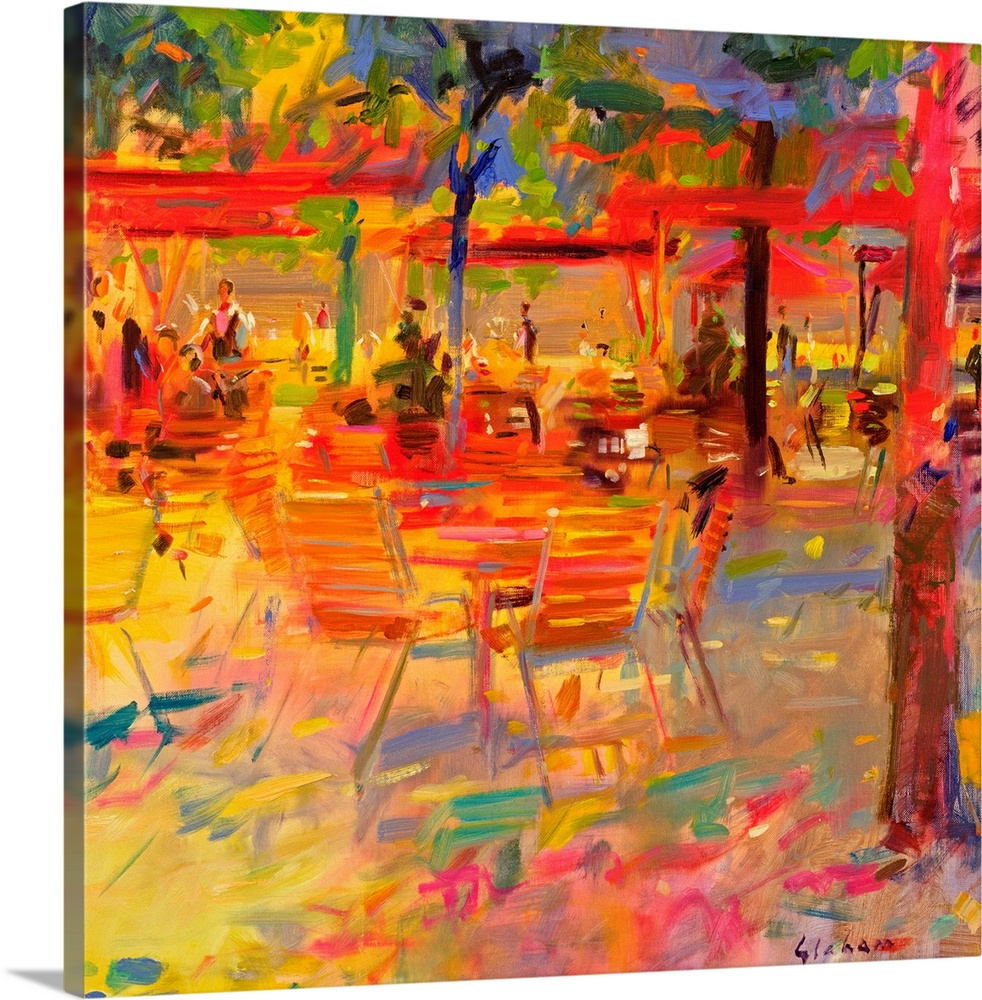 Large Gallery-Wrapped Canvas Wall Art Print 16 x 16 entitled Lunch on the Terrace Gallery-Wrapped Canvas entitled Lunch on the Terrace.  Big contemporary art portrays people sitting within the outside seating area of a restaurant filled with tables, chairs, umbrellas, and a few trees through the use of lively colors.  Multiple sizes available.  Primary colors within this image include Red, Orange, Peach, Black.  Made in USA.  Satisfaction guaranteed.  Inks used are latex-based and designed to last.  Canvas is acid-free and 20 millimeters thick.  Canvases are stretched across a 1.5 inch thick wooden frame with easy-to-mount hanging hardware.