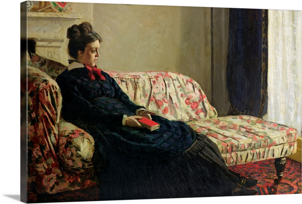 Large Solid-Faced Canvas Print Wall Art Print 30 x 20 entitled Meditation, or Madame Monet on the Sofa, c.1871 Solid-Faced Canvas Print entitled Meditation, or Madame Monet on the Sofa, c.1871.  XIR16610 Meditation, or Madame Monet on the Sofa, c.1871 oil on canvas  by Monet, Claude 1840-1926 48x75 cm Musee dOrsay, Paris, France Giraudon French, out of copyright.  Multiple sizes available.  Primary colors within this image include Brown, Black, Light Gray.  Made in USA.  All products come with a 365 day workmanship guarantee.  Inks used are latex-based and designed to last.  Archival inks prevent fading and preserve as much fine detail as possible with no over-saturation or color shifting.  Canvas depth is 1.25 and includes a finished backing with pre-installed hanging hardware.