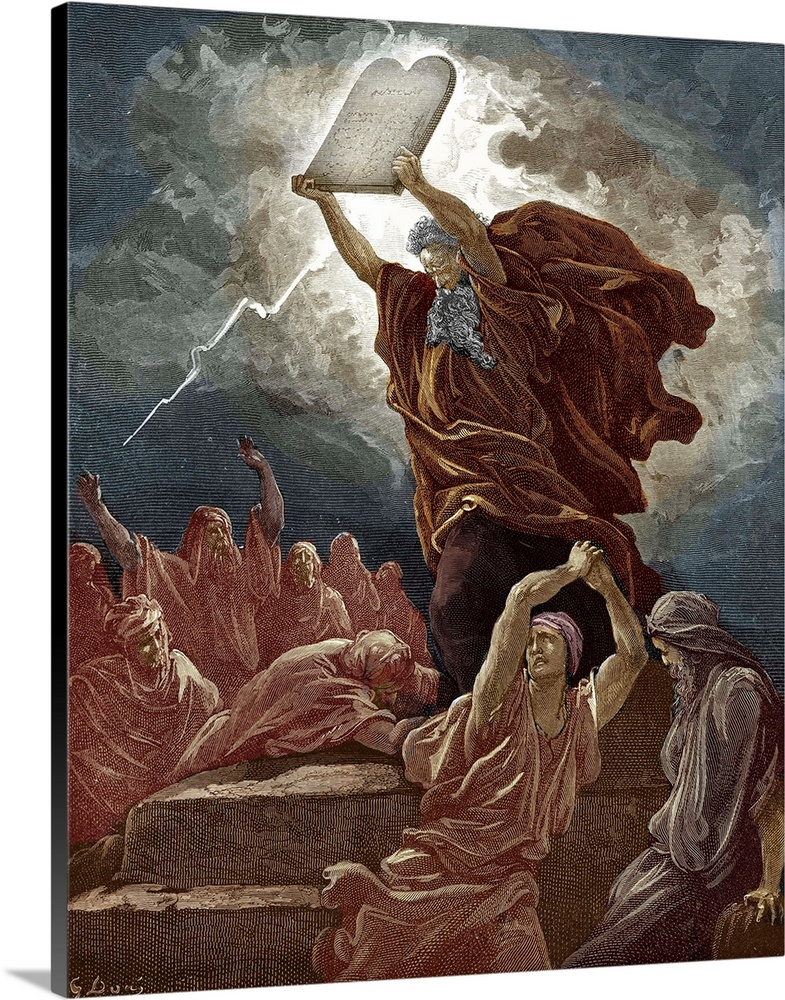 Large Solid-Faced Canvas Print Wall Art Print 24 x 30 entitled Moses Breaks The Tablets Of The Law By Dore - Bible Solid-Faced Canvas Print entitled Moses Breaks The Tablets Of The Law By Dore - Bible.  Moses breaks the tablets of the law after coming down from Mount Sinai and finding the children of Israel worshipping the golden calf Moses  anger waxed hot, and he cast the tables out of his hands, and brake them beneath the mount. Exodus 32  19 - 20. Drawn by Gustave Dore, French artist, b January 6, 1832 - January 23, 1883. Engraved by Hotelin.  Multiple sizes available.  Primary colors within this image include Black, Gray, White.  Made in the USA.  All products come with a 365 day workmanship guarantee.  Inks used are latex-based and designed to last.  Canvas is handcrafted and made-to-order in the United States using high quality artist-grade canvas.  Featuring a proprietary design, our canvases produce the tightest corners without any bubbles, ripples, or bumps and will not warp or sag over time.