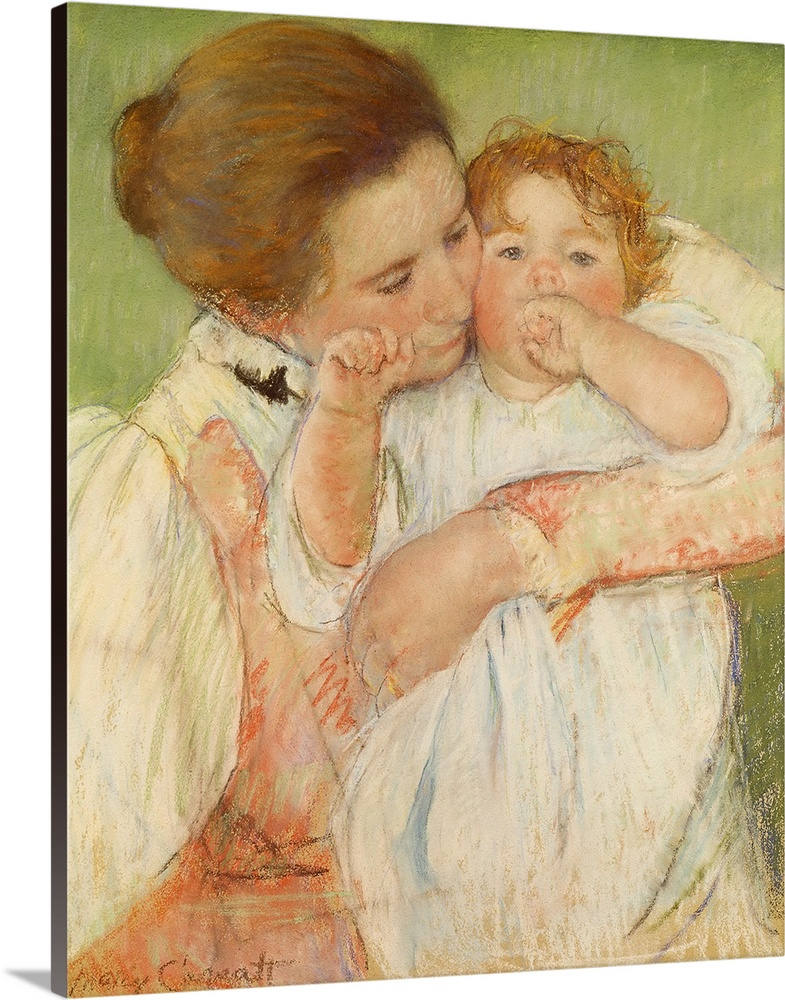 Large Gallery-Wrapped Canvas Wall Art Print 20 x 24 entitled Mother and Child, 1897 Gallery-Wrapped Canvas entitled Mother and Child 1897.  XIR124199 Mother and Child 1897 pastel on paper  by Cassatt Mary Stevenson 1844-1926 53x45 cm Musee dOrsay Paris France add. info. Mere et enfant sur fond vert Giraudon American out of copyright.  Multiple sizes available.  Primary colors within this image include Peach Black Dark Forest Green.  Made in USA.  All products come with a 365 day workmanship guarantee.  Inks used are latex-based and designed to last.  Museum-quality artist-grade canvas mounted on sturdy wooden stretcher bars 1.5 thick.  Comes ready to hang.  Canvases are stretched across a 1.5 inch thick wooden frame with easy-to-mount hanging hardware.