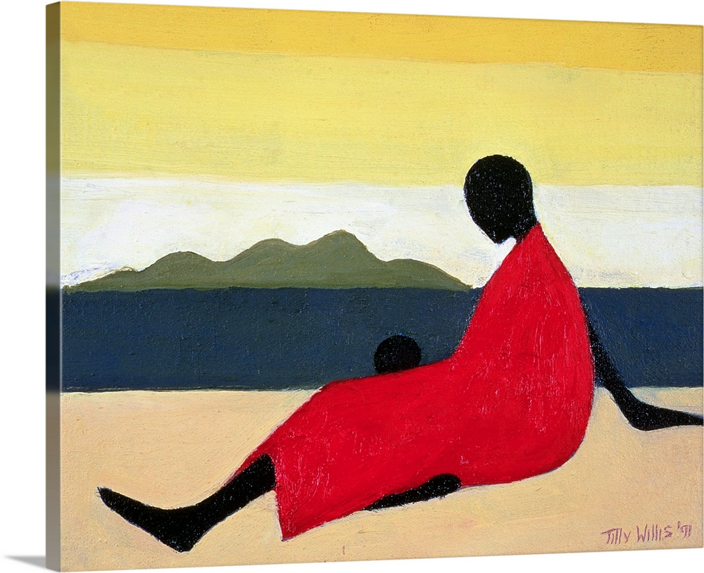 Large Gallery-Wrapped Canvas Wall Art Print 20 x 16 entitled Mother and Child, 1991 Gallery-Wrapped Canvas entitled Mother and Child 1991.  This contemporary geometric painting shows a stylized woman sitting on a beach with her child in this African-American art work.  Multiple sizes available.  Primary colors within this image include Dark Red Peach Black Silver.  Made in USA.  Satisfaction guaranteed.  Archival-quality UV-resistant inks.  Canvas frames are built with farmed or reclaimed domestic pine or poplar wood.  Canvas is a 65 polyester 35 cotton base with two acrylic latex primer basecoats and a semi-gloss inkjet receptive topcoat.