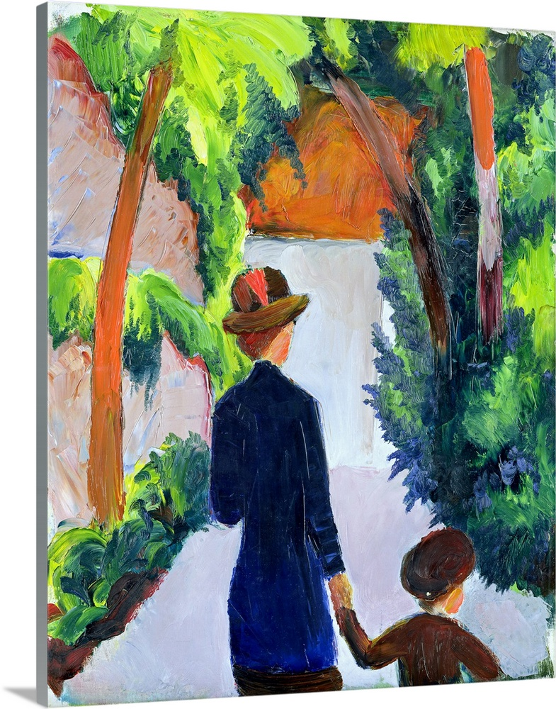 Large Gallery-Wrapped Canvas Wall Art Print 16 x 20 entitled Mother and Child in the Park, 1914 Gallery-Wrapped Canvas entitled Mother and Child in the Park 1914.  XKH141452 Mother and Child in the Park 1914 oil on canvas  by Macke August 1887-1914 56.3x46 cm Hamburger Kunsthalle Hamburg Germany German out of copyright.  Multiple sizes available.  Primary colors within this image include Orange Dark Blue Pale Blue Dark Navy Blue.  Made in the USA.  All products come with a 365 day workmanship guarantee.  Inks used are latex-based and designed to last.  Canvas is designed to prevent fading.  Canvases are stretched across a 1.5 inch thick wooden frame with easy-to-mount hanging hardware.