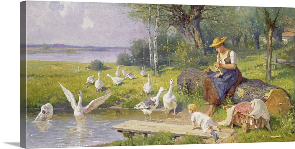 Large Gallery-Wrapped Canvas Wall Art Print 24 x 12 entitled Mother and Child with Geese Gallery-Wrapped Canvas entitled Mother and Child with Geese.  BAL56449 Mother and Child with Geese oil on canvas  by Meissner Adolf Ernst 1837-19027 Josef Mensing Gallery Hamm-Rhynern Germany German out of copyright.  Multiple sizes available.  Primary colors within this image include Dark Yellow Black Gray Silver.  Made in the USA.  All products come with a 365 day workmanship guarantee.  Inks used are latex-based and designed to last.  Museum-quality artist-grade canvas mounted on sturdy wooden stretcher bars 1.5 thick.  Comes ready to hang.  Canvases are stretched across a 1.5 inch thick wooden frame with easy-to-mount hanging hardware.