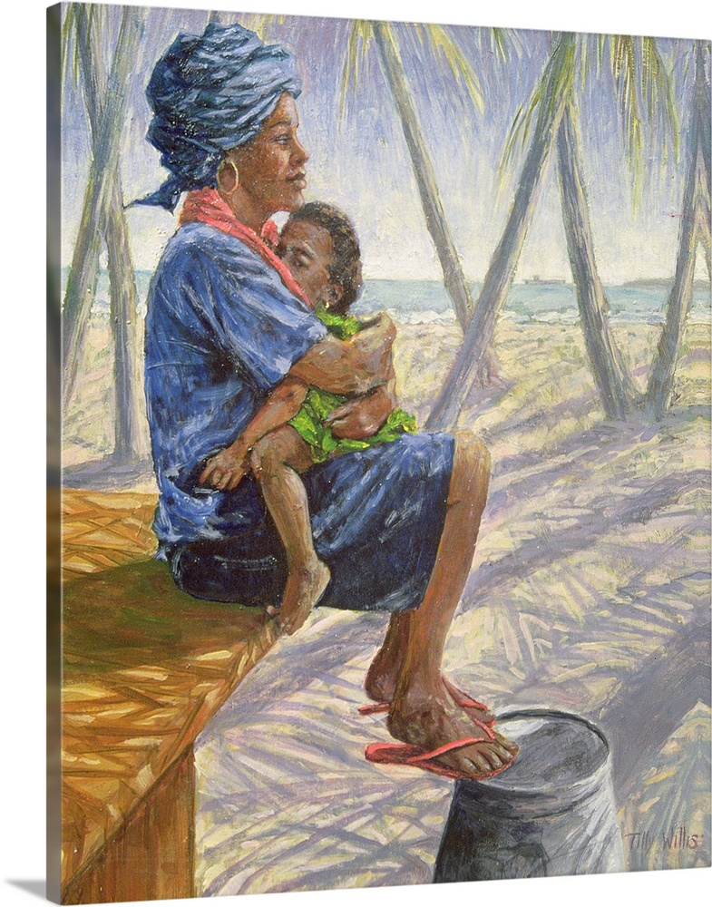 Large Solid-Faced Canvas Print Wall Art Print 24 x 30 entitled Mother Love, 2003 Solid-Faced Canvas Print entitled Mother Love, 2003.  Contemporary African artwork of a mother hugging her small child on her lap, with palm trees and a sandy beach in the background.  Multiple sizes available.  Primary colors within this image include Brown, Pink, Dark Gray, Light Gray.  Made in the USA.  Satisfaction guaranteed.  Inks used are latex-based and designed to last.  Canvas is handcrafted and made-to-order in the United States using high quality artist-grade canvas.  Featuring a proprietary design, our canvases produce the tightest corners without any bubbles, ripples, or bumps and will not warp or sag over time.