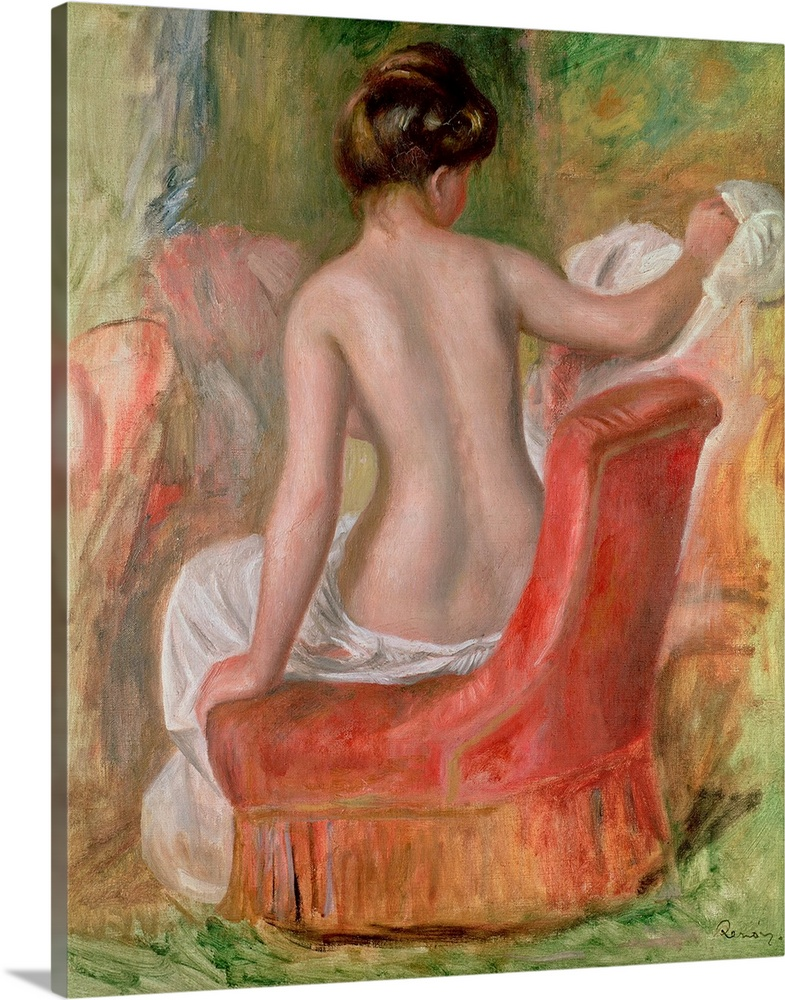 Large Gallery-Wrapped Canvas Wall Art Print 16 x 20 entitled Nude in an Armchair, 1900 Gallery-Wrapped Canvas entitled Nude in an Armchair, 1900.  Vertical, classic painting of  the back of a woman, nude from the waist up, sitting on a chair.  Multiple sizes available.  Primary colors within this image include Dark Red, Peach, Black, Dark Forest Green.  Made in USA.  All products come with a 365 day workmanship guarantee.  Inks used are latex-based and designed to last.  Canvas is a 65 polyester, 35 cotton base, with two acrylic latex primer basecoats and a semi-gloss inkjet receptive topcoat.  Canvases are stretched across a 1.5 inch thick wooden frame with easy-to-mount hanging hardware.